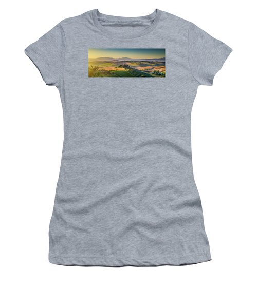 A Golden Morning In Tuscany Women's T-Shirt (Junior Cut) by JR Photography