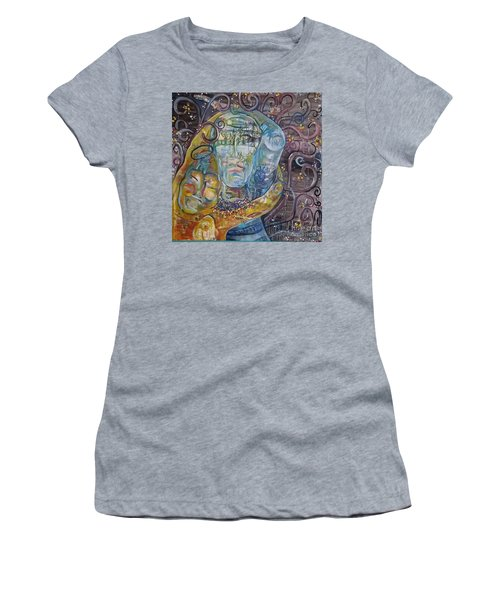 Women's T-Shirt (Junior Cut) featuring the painting 2 Angels Hugging Environmental Warrior Goddess by Carol Rashawnna Williams