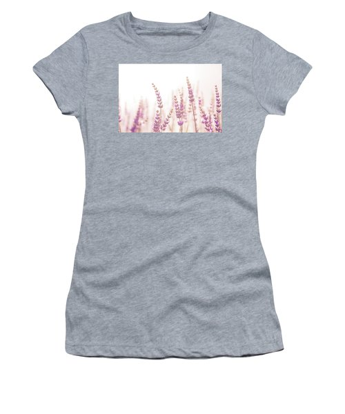 Women's T-Shirt (Junior Cut) featuring the photograph Lavender Flower In The Garden,park,backyard,meadow Blossom In Th by Jingjits Photography