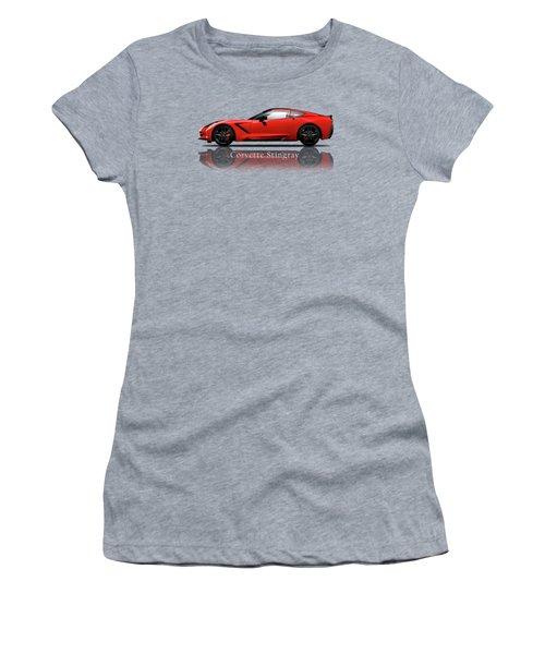 Chevrolet Corvette Stingray Women's T-Shirt (Junior Cut) by Mark Rogan