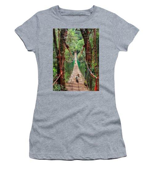 Women's T-Shirt (Junior Cut) featuring the photograph Hanging Bridge by Alexey Stiop