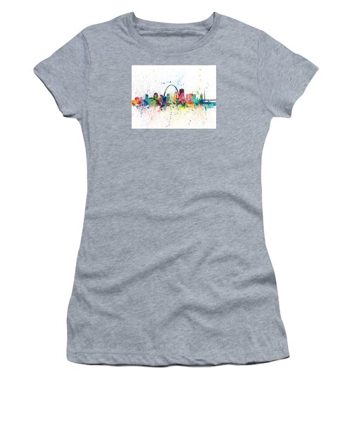 St Louis Missouri Skyline Women's T-Shirt (Junior Cut) by Michael Tompsett
