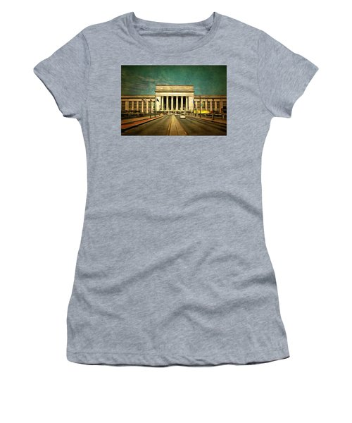 Women's T-Shirt (Junior Cut) featuring the mixed media 30th Street Station Traffic by Trish Tritz