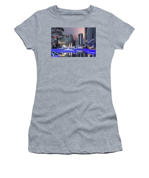 The Office Buildings Reflects In The Water Of The Klang River In Women's T-Shirt