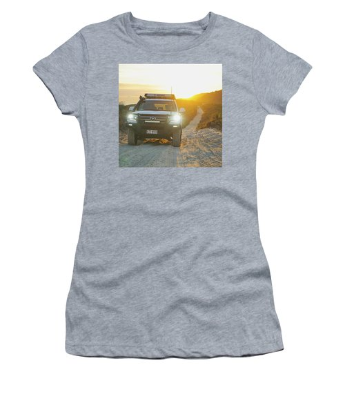 4wd Car Explores Sand Track In Early Morning Light Women's T-Shirt