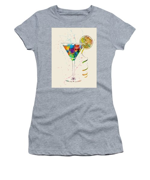 Cocktail Drinks Glass Watercolor Women's T-Shirt (Athletic Fit)