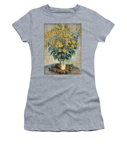 Jerusalem Artichoke Flowers Women's T-Shirt (Junior Cut) by Claude Monet