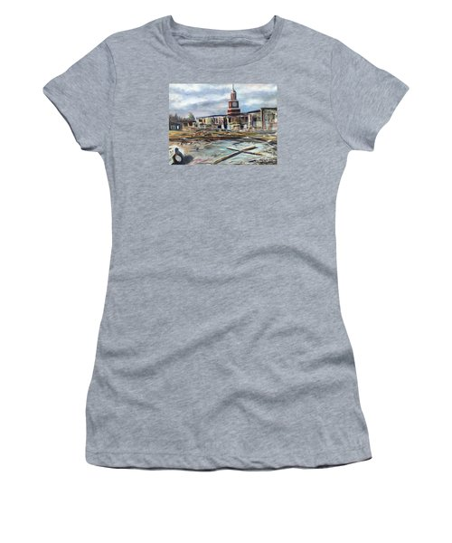 Women's T-Shirt (Junior Cut) featuring the painting Union University Jackson Tennessee 7 02 P M by Randol Burns
