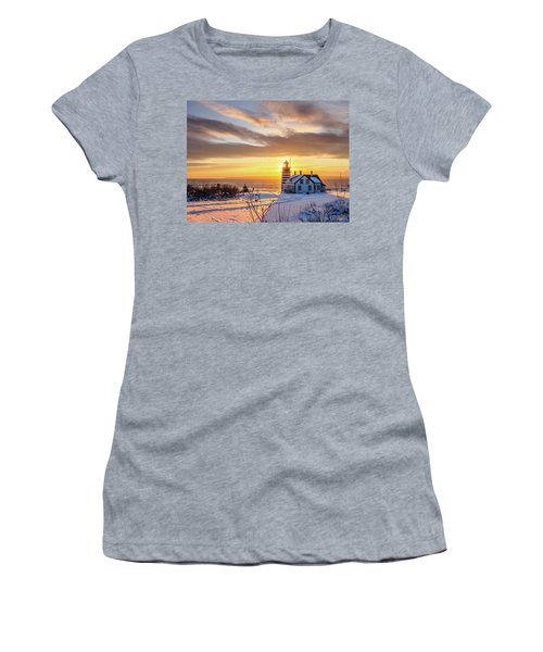 West Quoddy Head Lighthouse Women's T-Shirt (Junior Cut) by Trace Kittrell