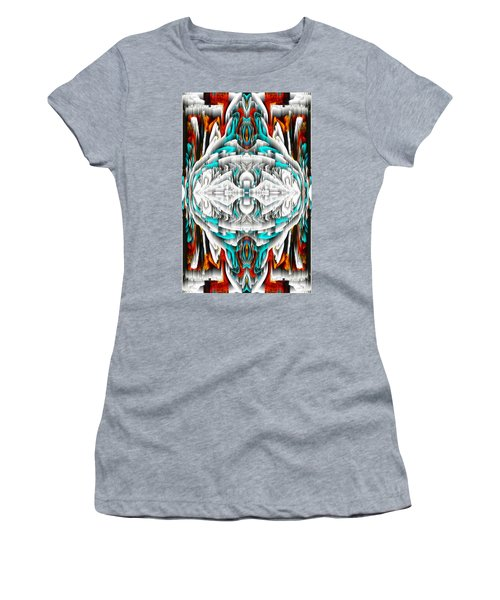 Women's T-Shirt (Athletic Fit) featuring the digital art 992.042212mirror2ornateredablue-1 by Kris Haas