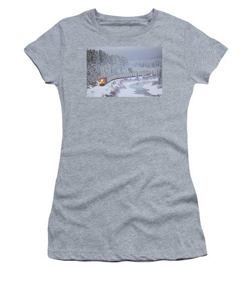 A Canadian Pacific Train Travels Along Women's T-Shirt