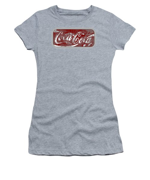 Coca Cola Red And Grey White Letters Sign With Transparent Background Women's T-Shirt (Athletic Fit)