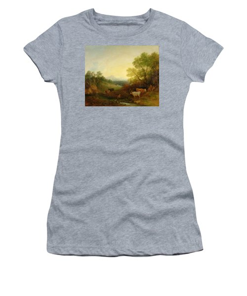 A Landscape With Cattle And Figures By A Stream And A Distant Bridge Women's T-Shirt