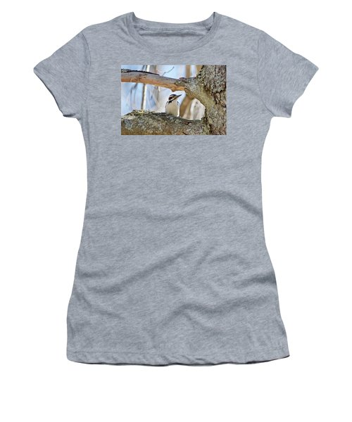 Women's T-Shirt (Junior Cut) featuring the photograph A Male Downey Woodpecker  1111 by Michael Peychich