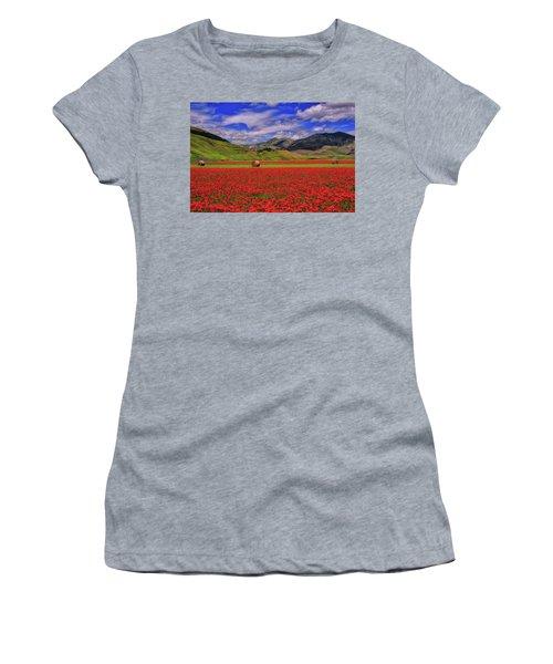 A Poppyy Dream Women's T-Shirt (Junior Cut) by Midori Chan