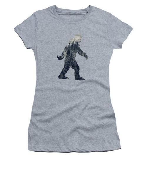 A Sasquatch Bigfoot Silhouette Hiking The Tundra Deep Forest Women's T-Shirt