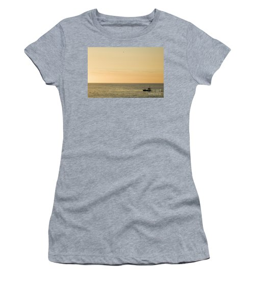 A Small Fishing Boat In Sunset Over Cardigan Bay Aberystwyth Ceredigion West Wales Women's T-Shirt