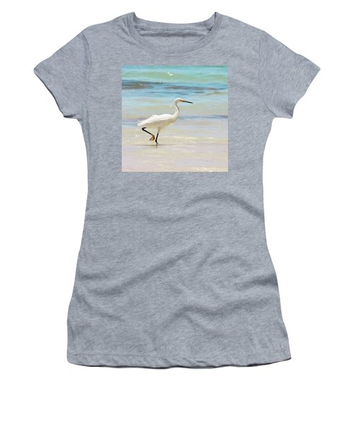 A Snowy Egret (egretta Thula) At Mahoe Women's T-Shirt (Athletic Fit)