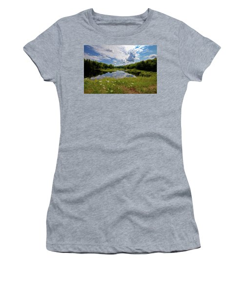 Women's T-Shirt (Athletic Fit) featuring the photograph A Summer Morning At The Bridge by David Patterson