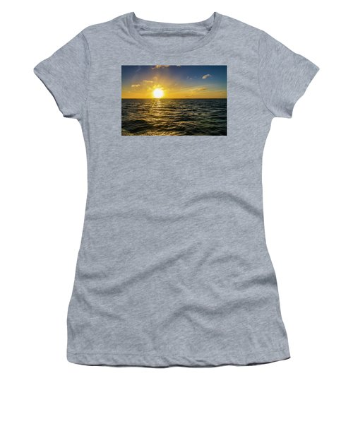 Women's T-Shirt (Athletic Fit) featuring the photograph Aboard A Danger Charter Sunset Cruise In Key West by Bob Slitzan