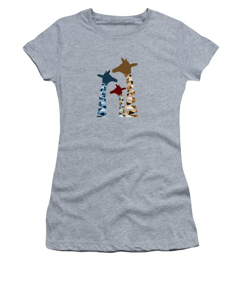 Abstract Colored Giraffe Family Women's T-Shirt (Junior Cut) by Brigitte Carre