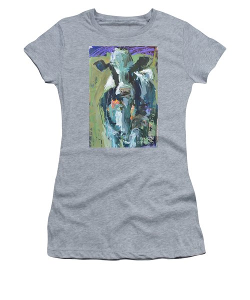 Women's T-Shirt (Junior Cut) featuring the painting Abstract Cow Painting by Robert Joyner