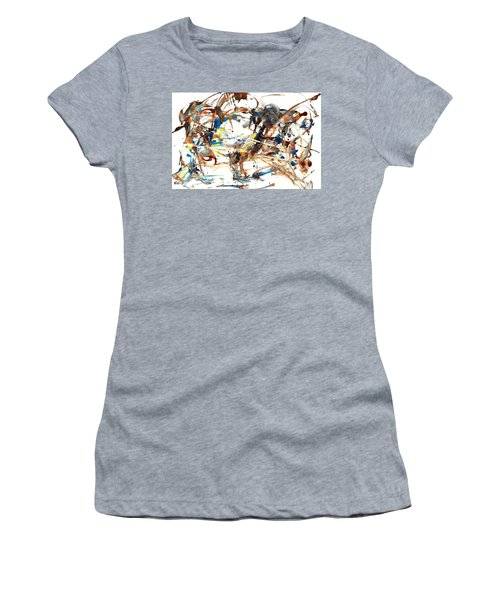 Women's T-Shirt (Athletic Fit) featuring the painting Abstract Expressionism Painting Series 1042.050812 by Kris Haas
