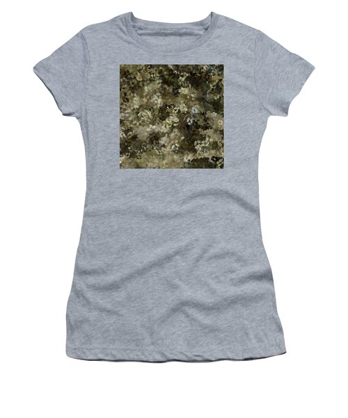 Women's T-Shirt (Athletic Fit) featuring the mixed media Abstract Gold Black White 5 by Clare Bambers
