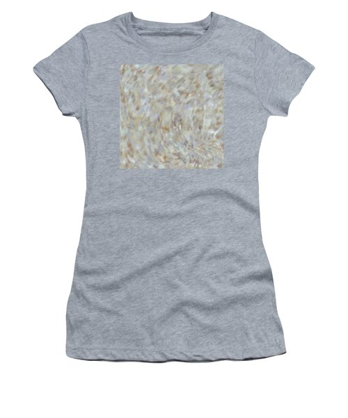 Women's T-Shirt (Athletic Fit) featuring the mixed media Abstract Gold Cream Beige 6 by Clare Bambers