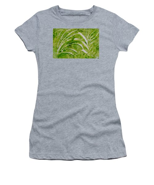 Abstract Green And White Leaves And Grass Women's T-Shirt
