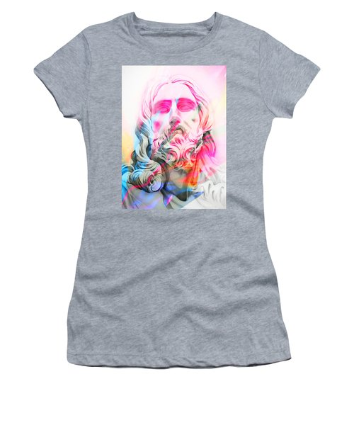 Women's T-Shirt (Junior Cut) featuring the painting Abstract Jesus 4 by J- J- Espinoza
