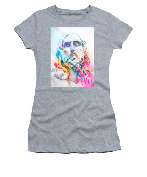 Women's T-Shirt (Junior Cut) featuring the painting Abstract Jesus 5 by J- J- Espinoza