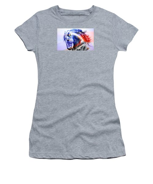 Women's T-Shirt (Junior Cut) featuring the painting Abstract White Horse 44 by J- J- Espinoza