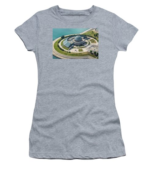 Women's T-Shirt (Athletic Fit) featuring the photograph Adler Planetarium Aerial by Adam Romanowicz