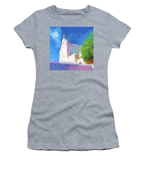 Women's T-Shirt (Athletic Fit) featuring the digital art Adobe Church by OLena Art Brand