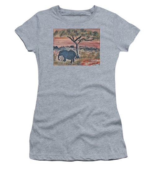 African Landscape With Elephant And Banya Tree At Watering Hole With Mountain And Sunset Grasses Shr Women's T-Shirt (Junior Cut) by MendyZ