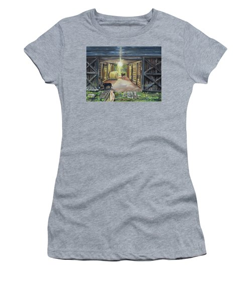 Women's T-Shirt (Athletic Fit) featuring the painting After Hours In Pa's Barn - Barn Lights - Labs by Jan Dappen