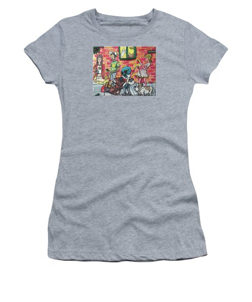 Women's T-Shirt (Junior Cut) featuring the painting Aliens Love Dogs by Similar Alien