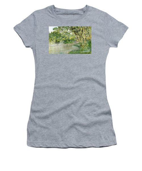 Women's T-Shirt (Junior Cut) featuring the painting Along The Susquehanna by Melly Terpening