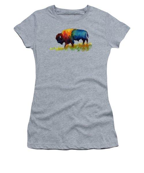 Women's T-Shirt (Junior Cut) featuring the painting American Buffalo IIi by Hailey E Herrera
