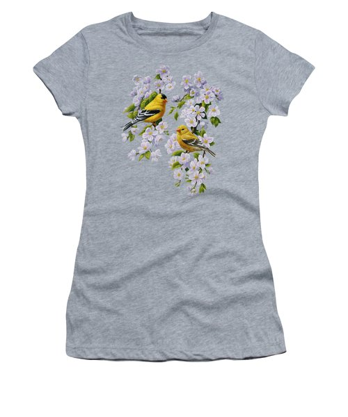 American Goldfinches And Apple Blossoms Women's T-Shirt (Athletic Fit)