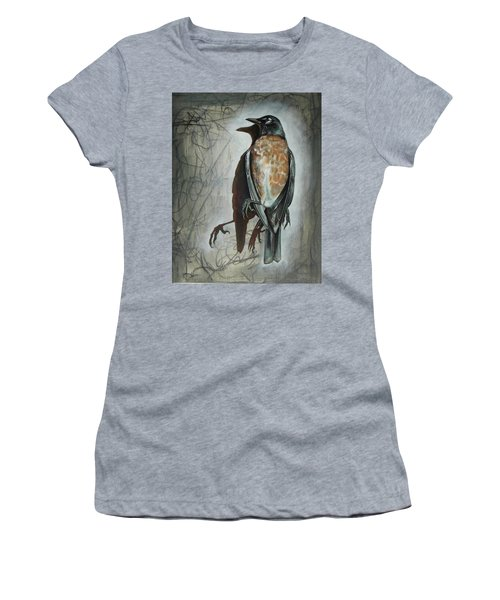 Women's T-Shirt (Junior Cut) featuring the mixed media American Robin by Sheri Howe