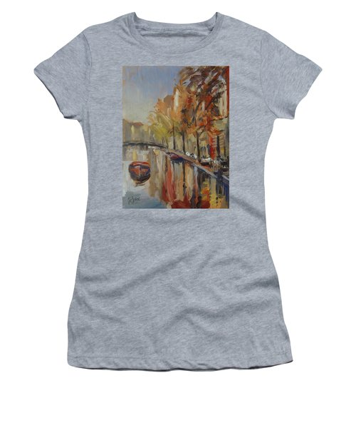 Amsterdam Autumn With Boat Women's T-Shirt (Athletic Fit)