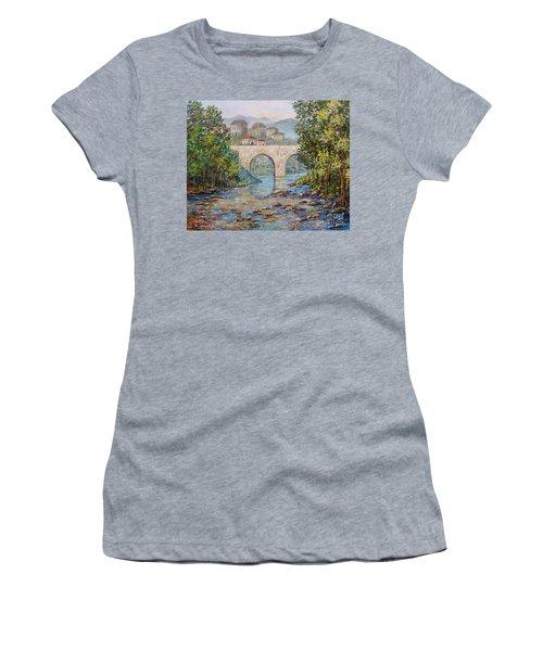 Women's T-Shirt (Junior Cut) featuring the painting Ancient Bridge by Lou Ann Bagnall