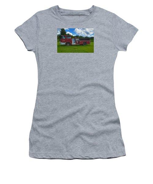 Antique Fire Truck Women's T-Shirt (Junior Cut) by Ronald Olivier