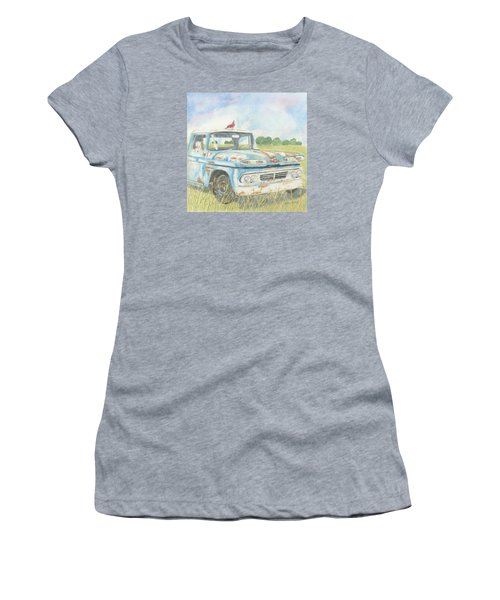 Women's T-Shirt (Junior Cut) featuring the drawing Apache Out To Pasture by Arlene Crafton