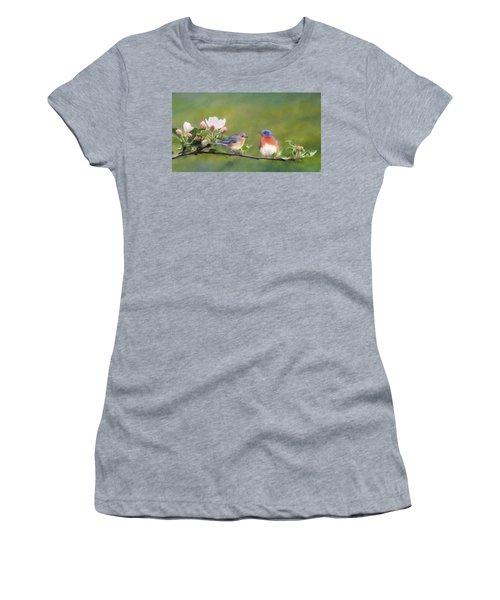 Apple Blossoms And Bluebirds Women's T-Shirt (Athletic Fit)