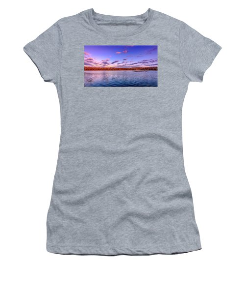 Women's T-Shirt featuring the photograph April Evening At The Lake by Allin Sorenson