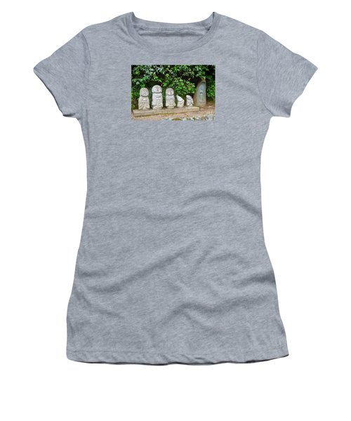 Women's T-Shirt (Junior Cut) featuring the digital art Arashiyama Street Buddah Statues by Eva Kaufman