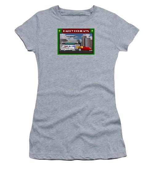 Women's T-Shirt (Junior Cut) featuring the digital art Art Deco Street Scene Christmas Card by Stuart Swartz